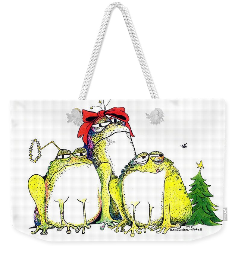 Christmas Card Weekender Tote Bag featuring the greeting card Xmas Bows by Pat Saunders-White