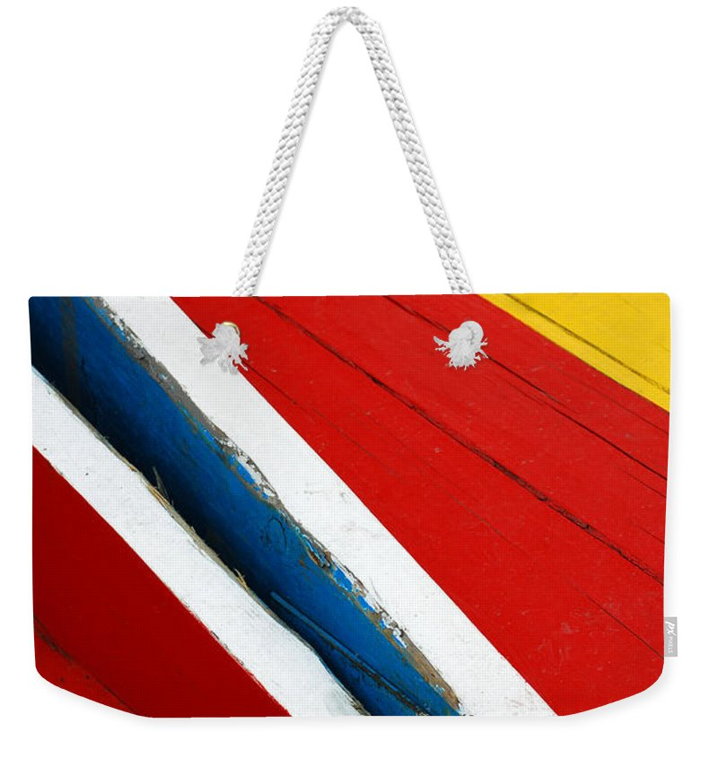 Red Weekender Tote Bag featuring the photograph Xochimilco Boat Abstract 1 by Skip Hunt