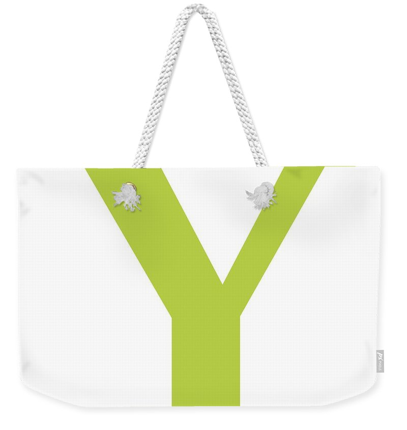 Y Weekender Tote Bag featuring the digital art Y In Spring Green Typewriter Style by Custom Home Fashions