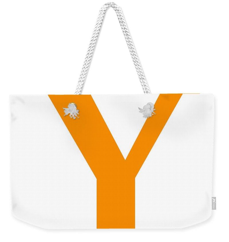 Y Weekender Tote Bag featuring the digital art Y In Tangerine Typewriter Style by Custom Home Fashions