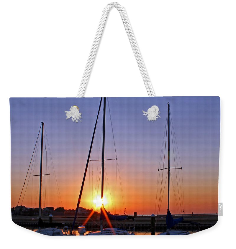 America Weekender Tote Bag featuring the photograph Yacht Club Sunrise by Judy Vincent