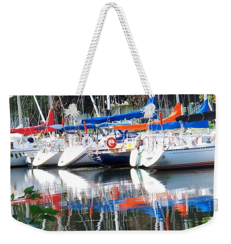 Boat Weekender Tote Bag featuring the photograph Yachts At Rest by Ian MacDonald