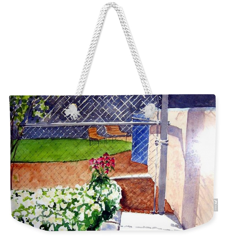 Ballpark Weekender Tote Bag featuring the painting Yankee Stadium by Sandy Ryan