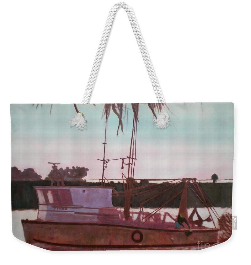 Seascape Weekender Tote Bag featuring the digital art Yankee Town Fishing Boat by Hal Newhouser