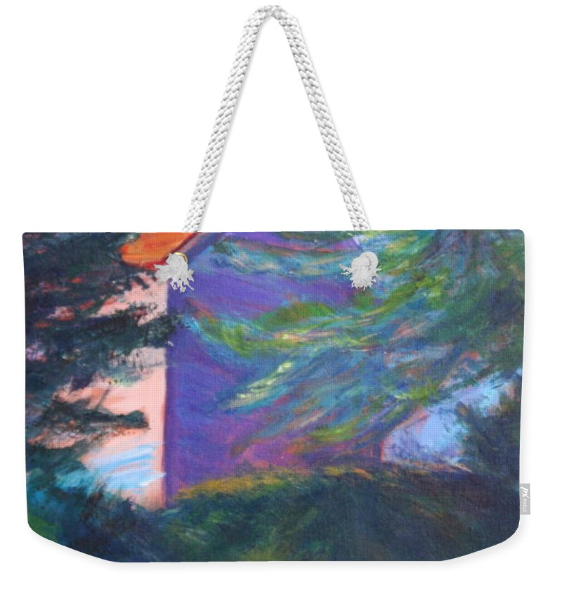 Quin Sweetman Weekender Tote Bag featuring the painting Yaquina Bay Lighthouse by Quin Sweetman