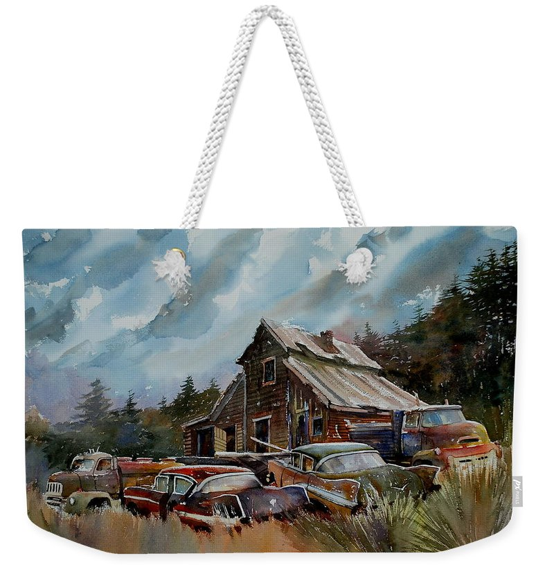 Cars Barn Wrecks Weekender Tote Bag featuring the painting Yardmates by Ron Morrison
