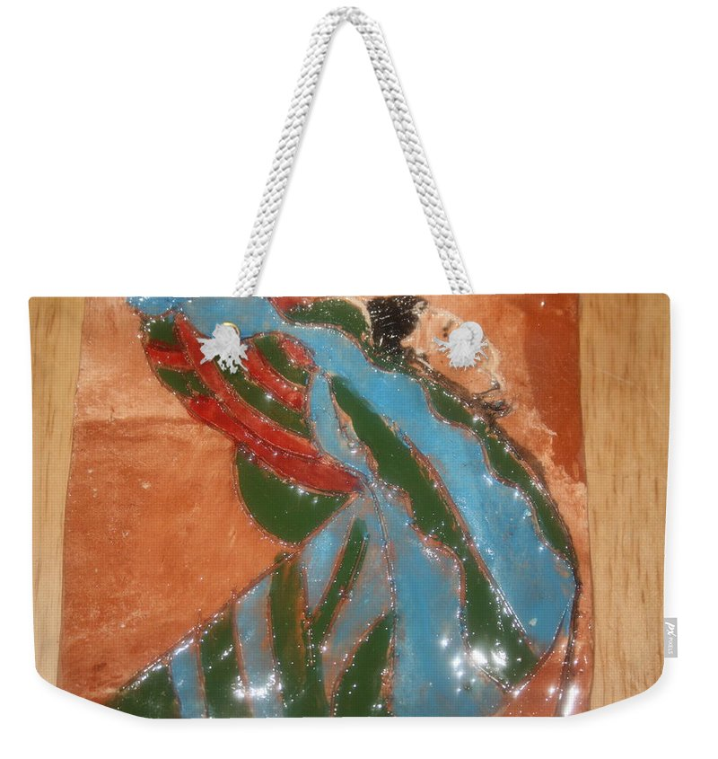 Jesus Weekender Tote Bag featuring the ceramic art Yawn And Stretch - Tile by Gloria Ssali