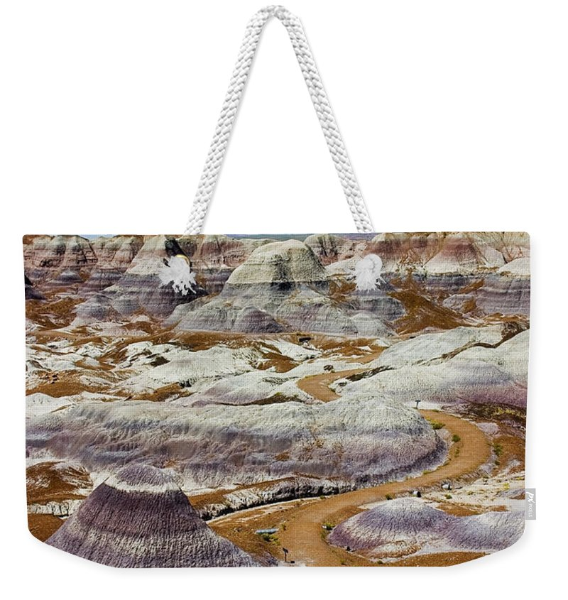 Painted Desert Weekender Tote Bag featuring the photograph Yea Though I Walk by Skip Hunt