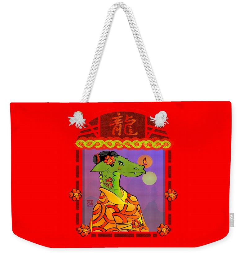 Dragon Weekender Tote Bag featuring the digital art Year Of The Dragon by LD Gonzalez