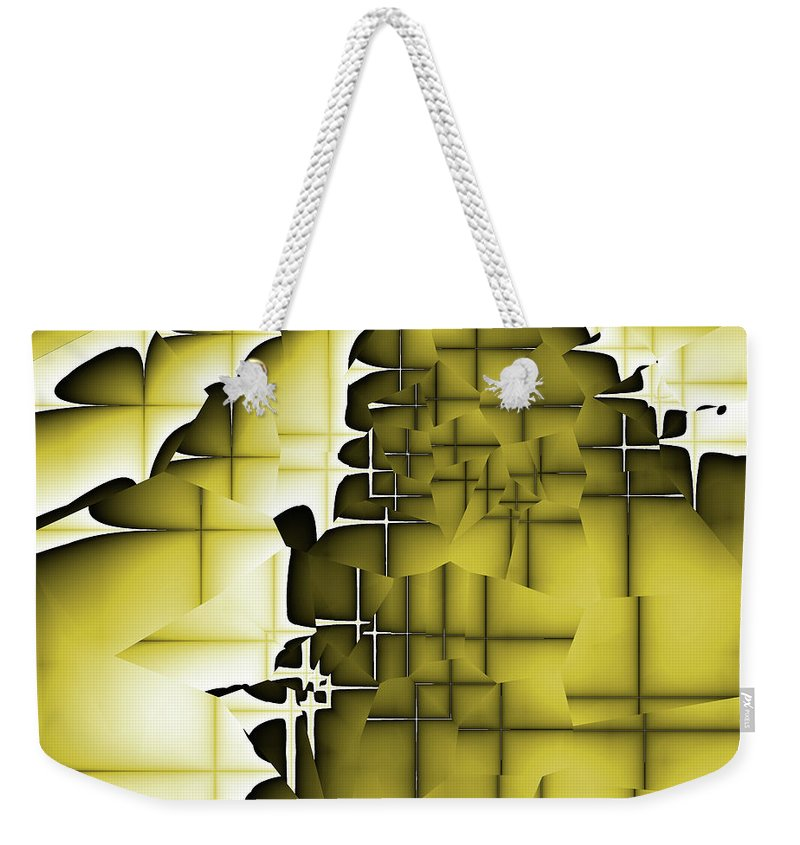 Abstract Weekender Tote Bag featuring the digital art Yellow And Black 3 by Jack Bowman