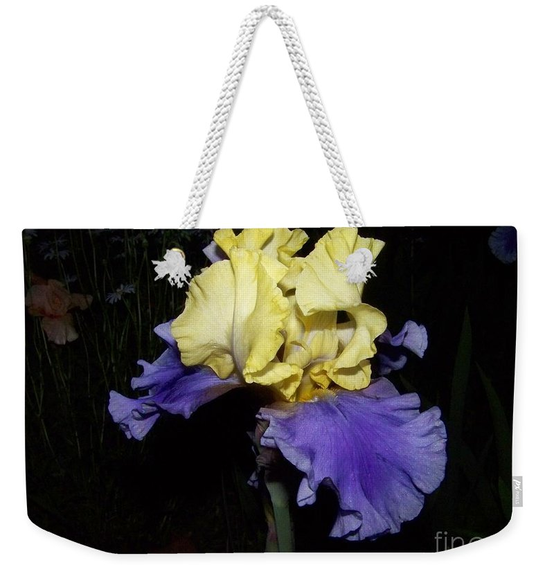 Iris Weekender Tote Bag featuring the photograph Yellow And Blue Iris by Kathy McClure