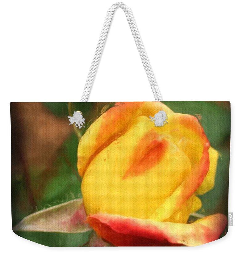 Rose Weekender Tote Bag featuring the painting Yellow And Orange Rosebud by Smilin Eyes Treasures