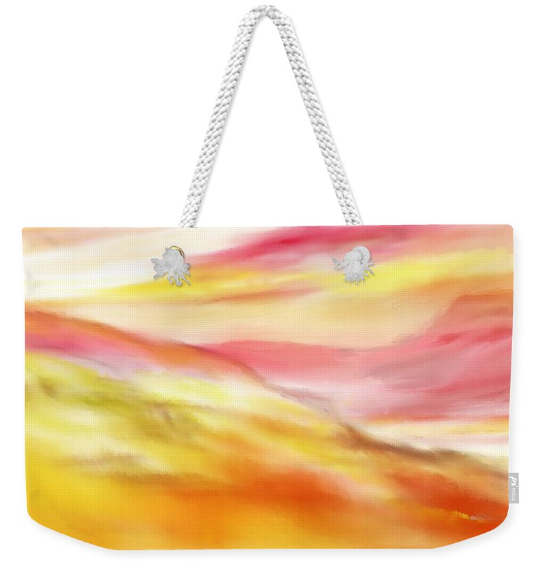 Digital Art Weekender Tote Bag featuring the digital art Yellow And Red Landscape by David Lane