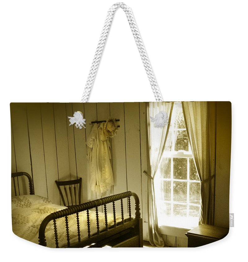 Bedroom Weekender Tote Bag featuring the photograph Yellow Bedroom Light by Mal Bray