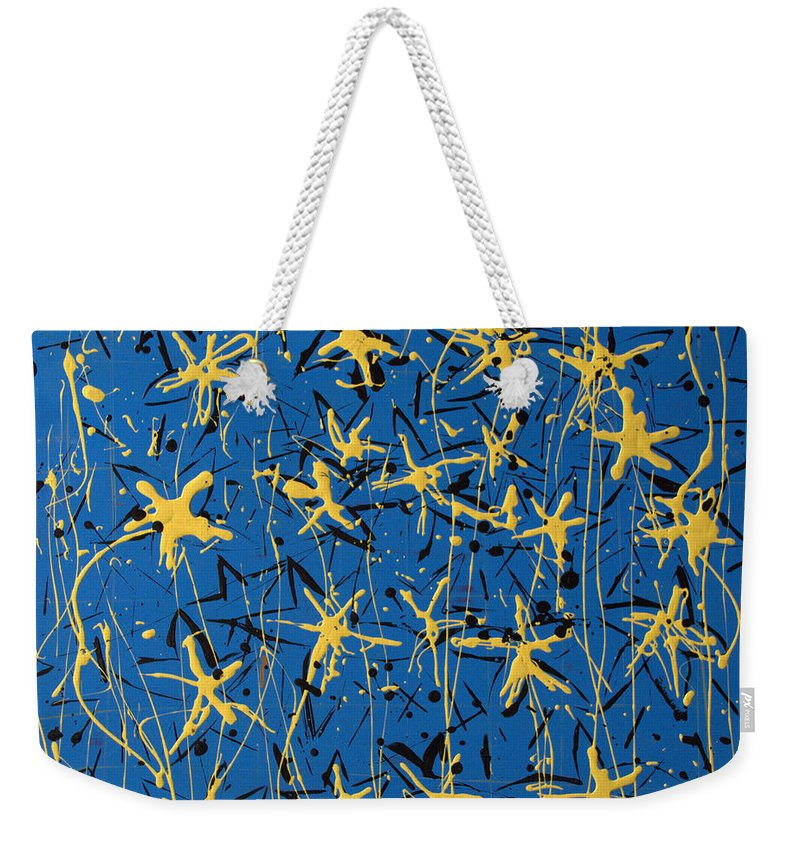 Abstract Painting Weekender Tote Bag featuring the painting Yellow Blue by J R Seymour