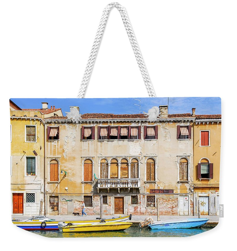 Venice Weekender Tote Bag featuring the photograph Yellow Boat - Venice Italy by Mike Valdez
