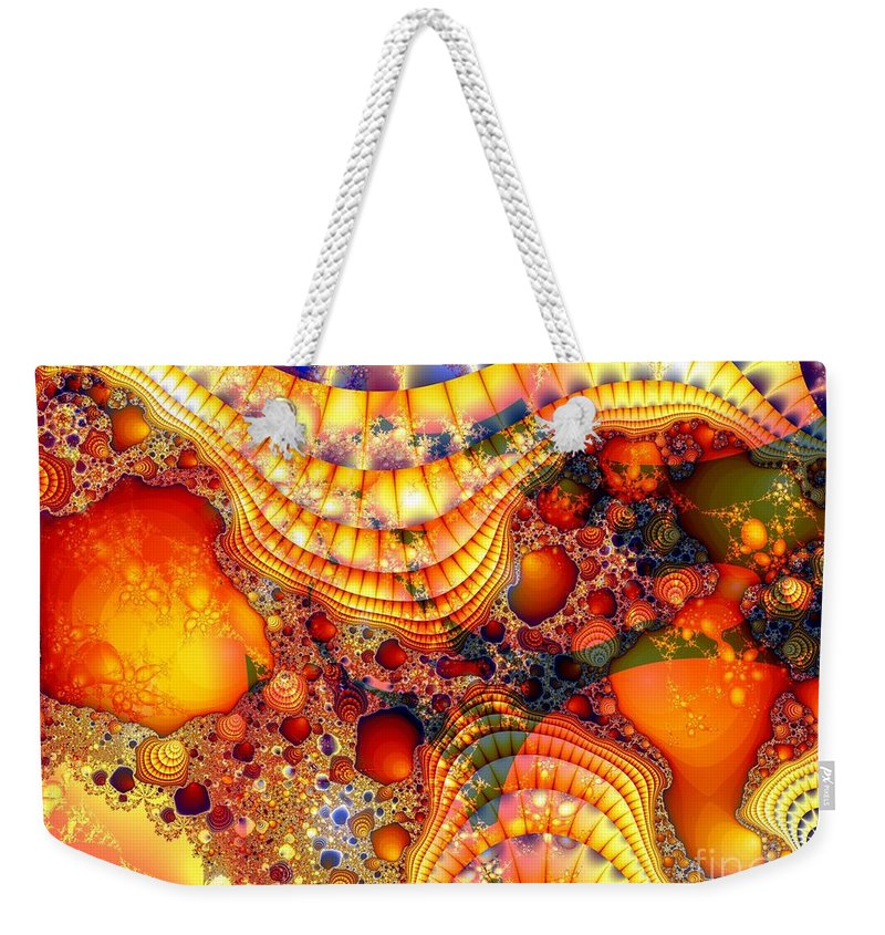 Fractal Weekender Tote Bag featuring the digital art Yellow Brick Roads by Ron Bissett