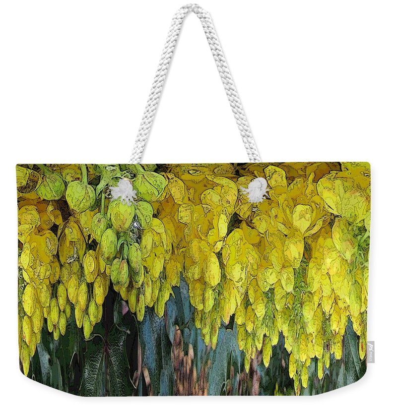 Yellow Weekender Tote Bag featuring the digital art Yellow Buds by Tim Allen
