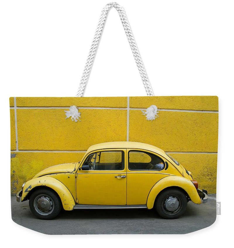 Yellow Weekender Tote Bag featuring the photograph Yellow Bug by Skip Hunt