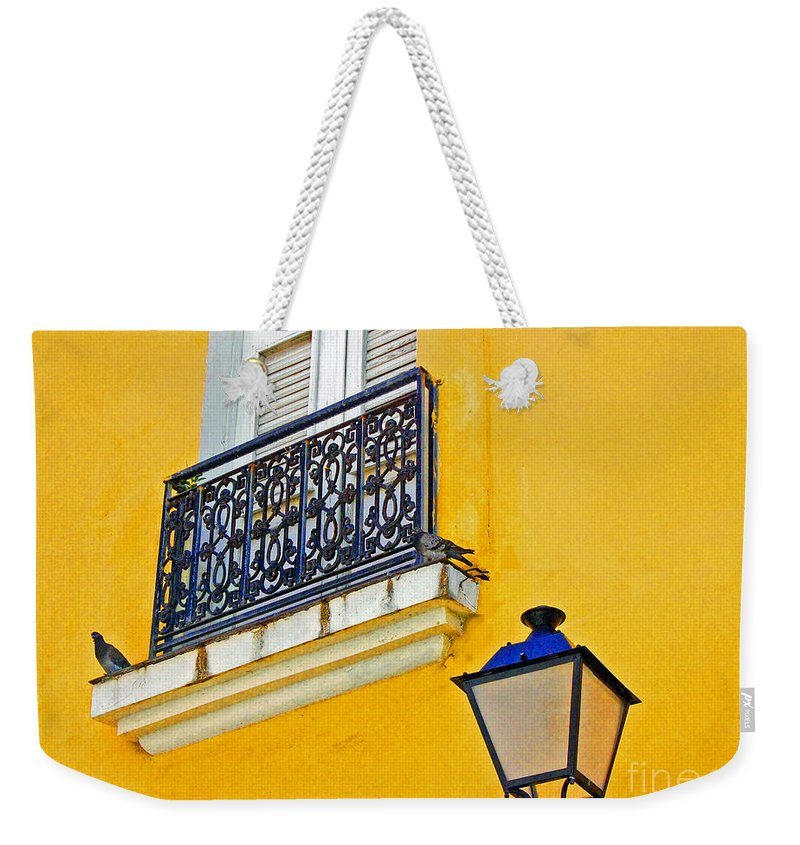 Pigeon Weekender Tote Bag featuring the photograph Yellow Building by Debbi Granruth