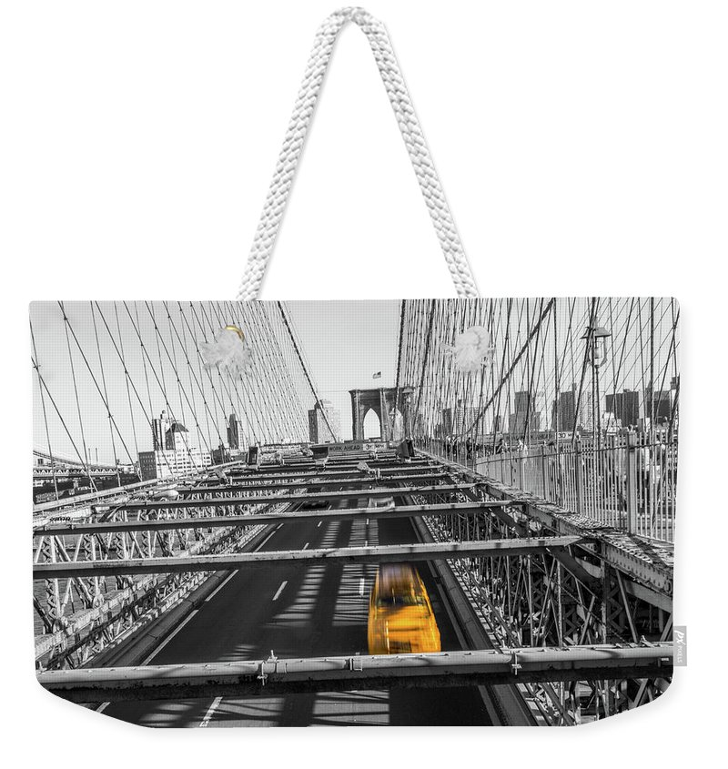 Big Apple Weekender Tote Bag featuring the photograph Yellow Cab On Brooklyn Bridge, New York 3 by Art Calapatia