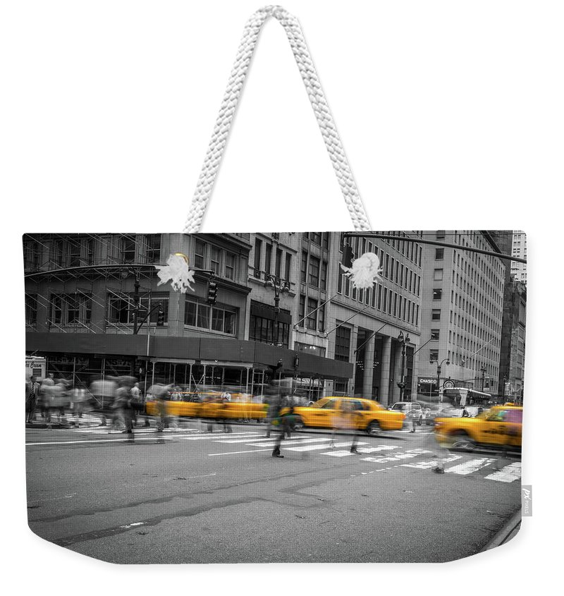 Big Apple Weekender Tote Bag featuring the photograph Yellow Cab On Fifth Avenue, New York 4 by Art Calapatia