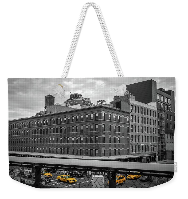 Big Apple Weekender Tote Bag featuring the photograph Yellow Cabs In Chelsea, New York 3 by Art Calapatia