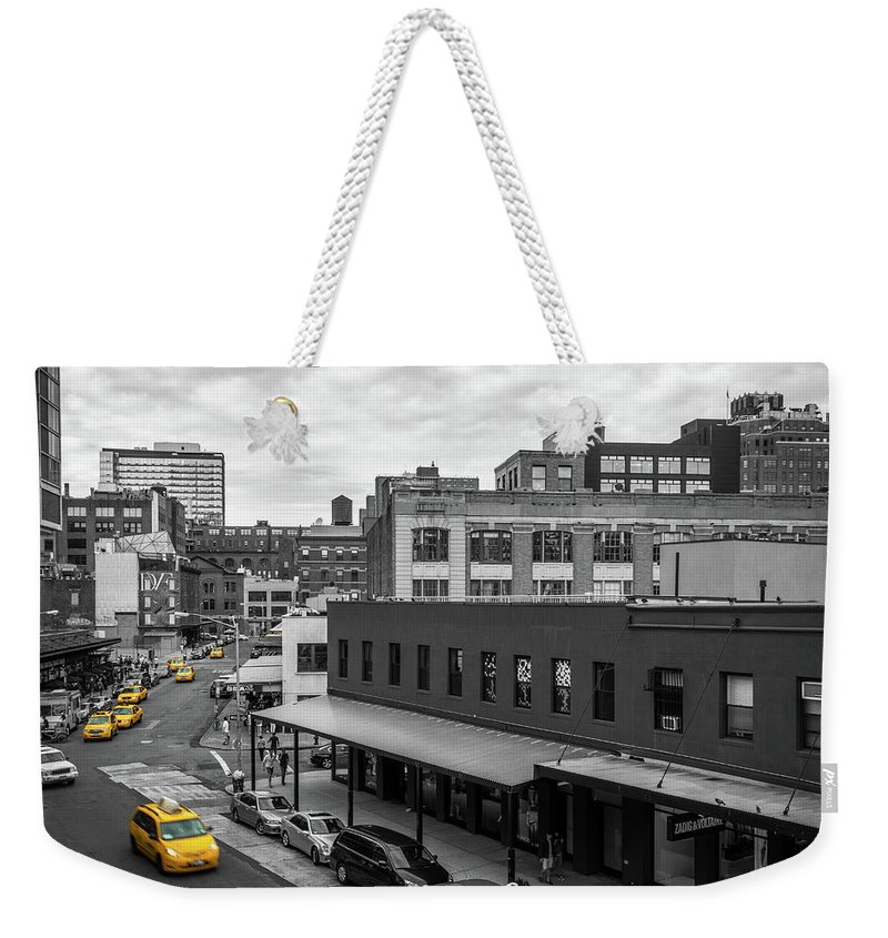 Big Apple Weekender Tote Bag featuring the photograph Yellow Cabs In Chelsea, New York 5 by Art Calapatia