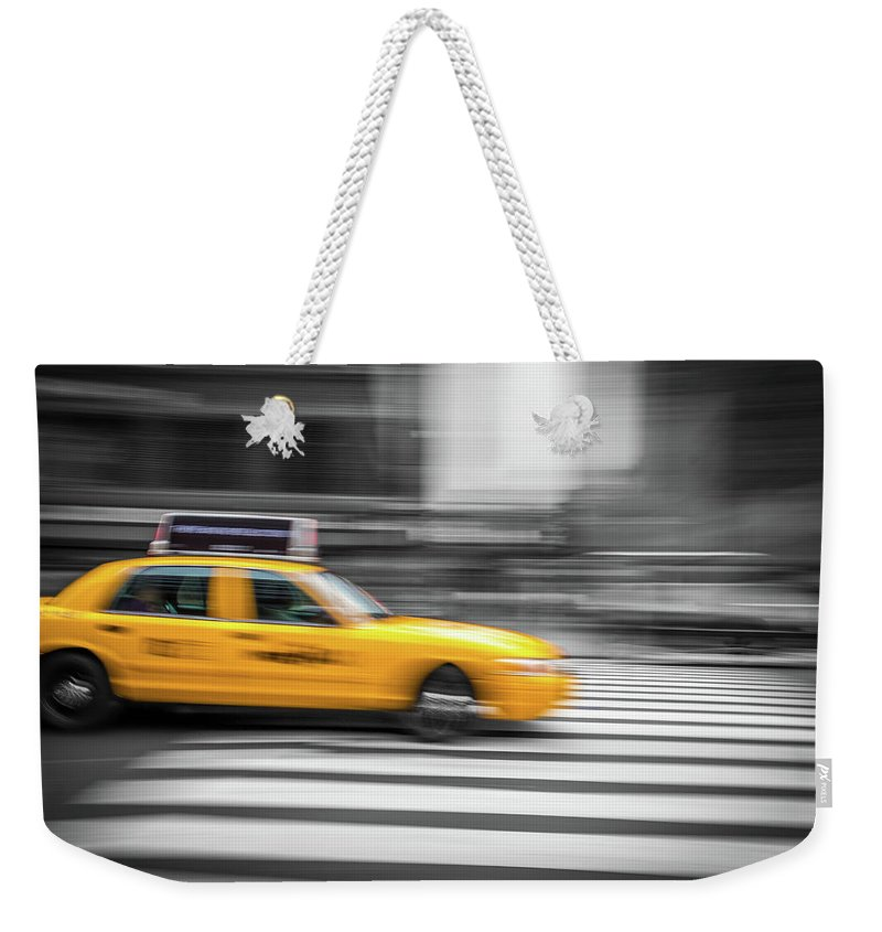 Big Apple Weekender Tote Bag featuring the photograph Yellow Cabs In New York 6 by Art Calapatia