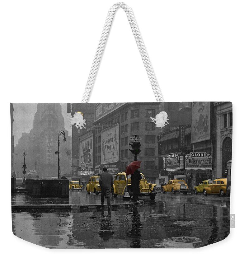 Times Square Weekender Tote Bag featuring the photograph Yellow Cabs New York by Andrew Fare