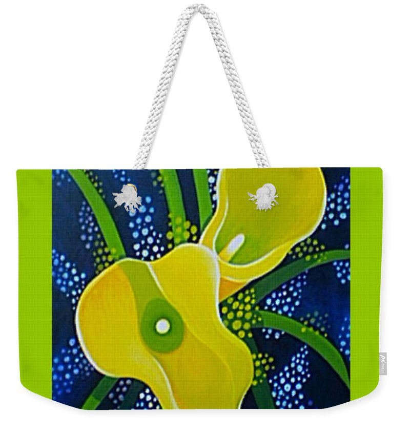 Lily Weekender Tote Bag featuring the painting Yellow Callas by Helena Tiainen
