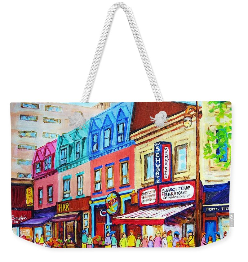 Reastarant Weekender Tote Bag featuring the painting Yellow Car At The Smoked Meat Lineup by Carole Spandau