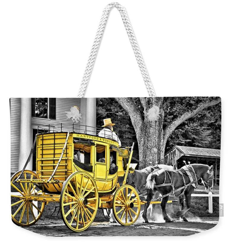 Old Weekender Tote Bag featuring the photograph Yellow Carriage by Evelina Kremsdorf