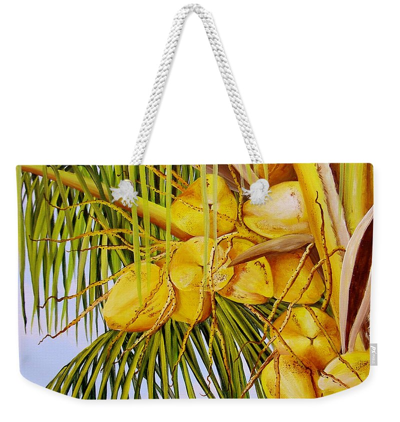 Coconuts Weekender Tote Bag featuring the painting Yellow Coconuts- 01 by Dominica Alcantara