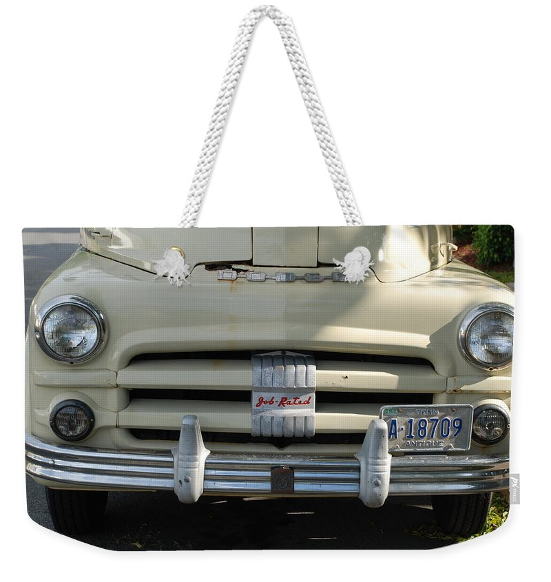 Truck Weekender Tote Bag featuring the photograph Yellow Dodge by Rob Hans