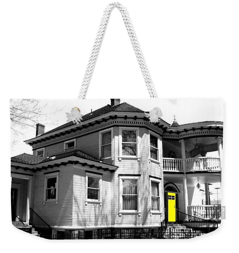 House Weekender Tote Bag featuring the digital art Yellow Door by Will Borden