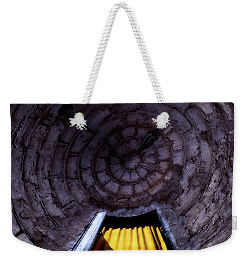 Yellow Weekender Tote Bag featuring the photograph Yellow Doorway Abstract by Wayne King