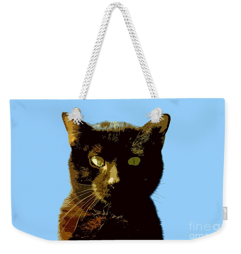 Cat Weekender Tote Bag featuring the painting Yellow Eyes by David Lee Thompson