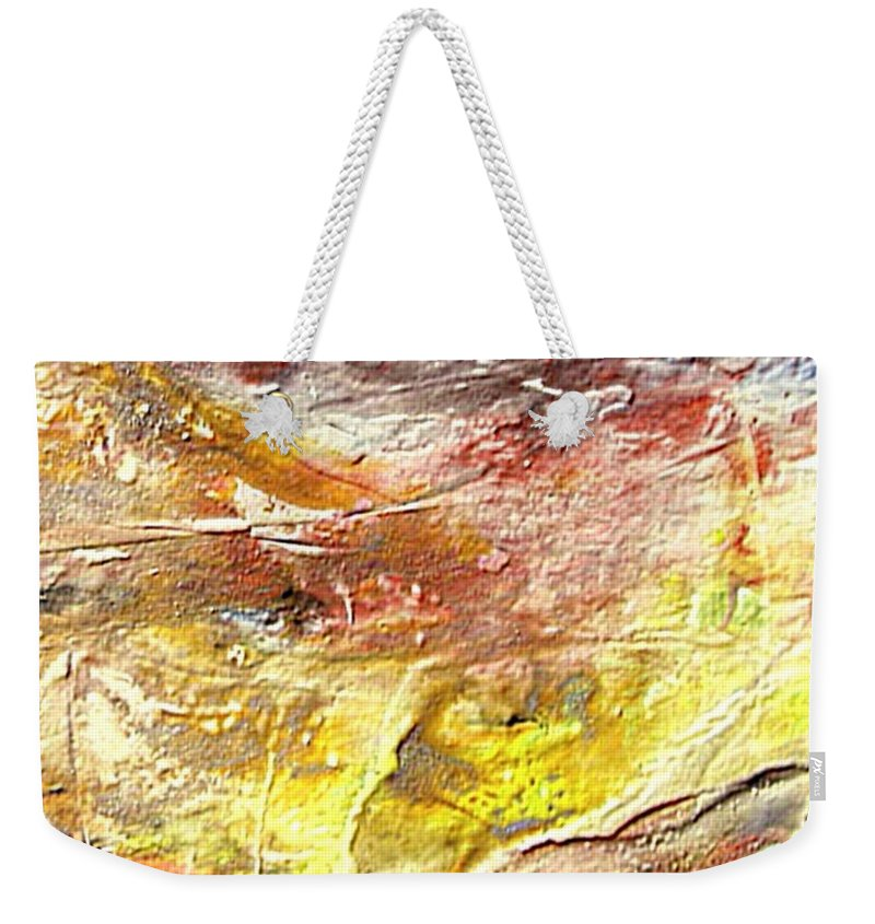 Yellow Field Weekender Tote Bag featuring the painting Yellow Field by Dragica Micki Fortuna