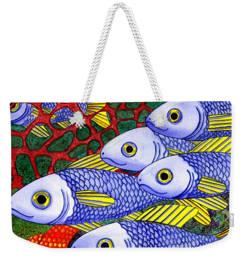 Fish Weekender Tote Bag featuring the painting Yellow Fins by Catherine G McElroy