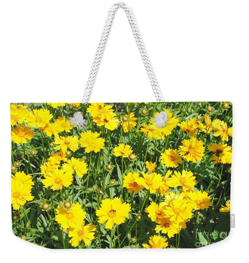 Yellow Weekender Tote Bag featuring the photograph Yellow Flowers by Jost Houk