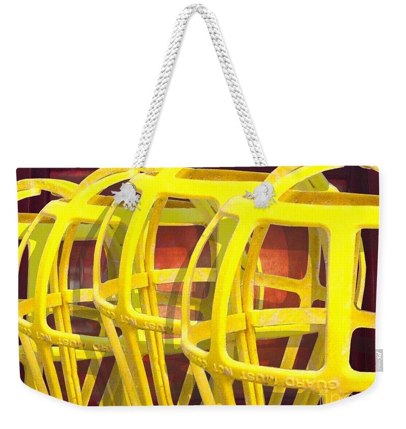 Digital Art Weekender Tote Bag featuring the digital art Yellow Guard by Ron Bissett