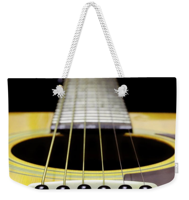 Andee Design Guitar Weekender Tote Bag featuring the photograph Yellow Guitar 17 by Andee Design