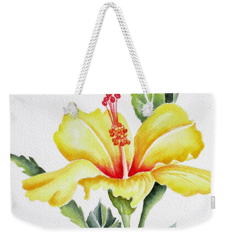 Hibiscus Weekender Tote Bag featuring the painting Yellow Hibiscus by Deborah Ronglien