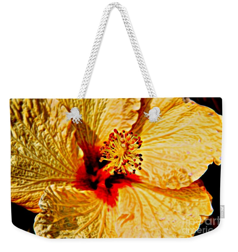 Yellow Hibiscus Flower Weekender Tote Bag featuring the photograph Yellow Hibiscus by Mariola Bitner