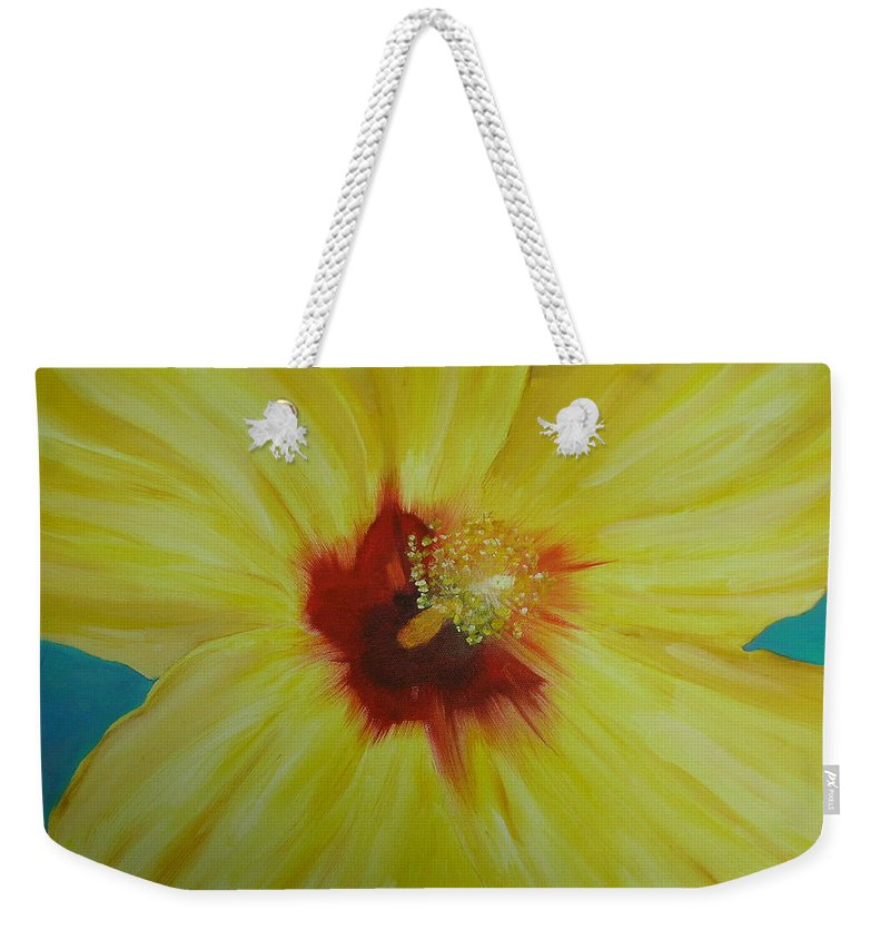 Flower Weekender Tote Bag featuring the print Yellow Hibiscus by Melinda Etzold
