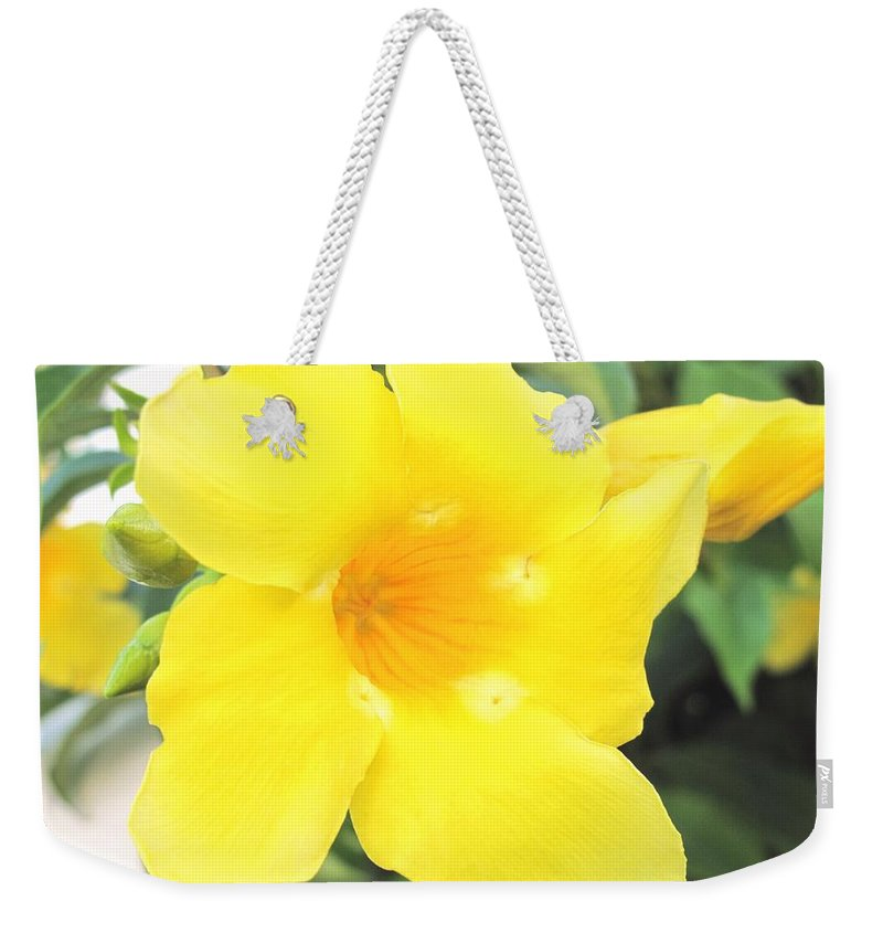 Yellow Weekender Tote Bag featuring the photograph Yellow Hibiscus St Kitts by Ian MacDonald