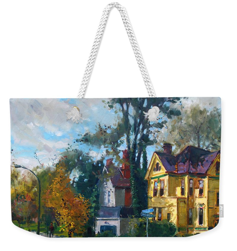 Yellow House Weekender Tote Bag featuring the painting Yellow House by Ylli Haruni