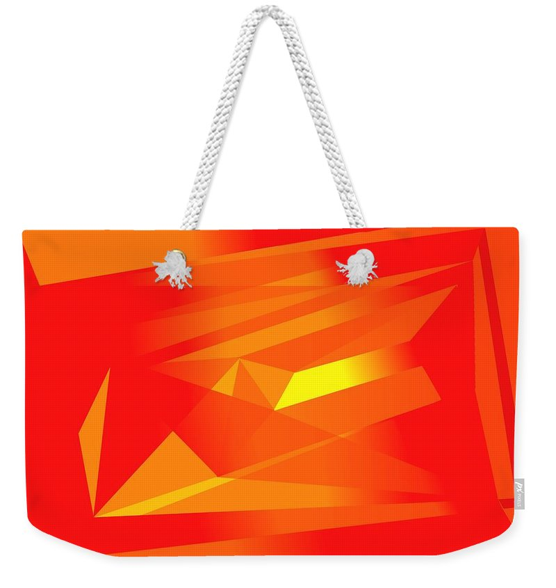 Red Weekender Tote Bag featuring the digital art Yellow In Red by Helmut Rottler