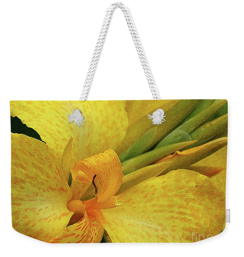 Digital Flower Painting Weekender Tote Bag featuring the photograph Yellow In The Morning by Anna Sheradon